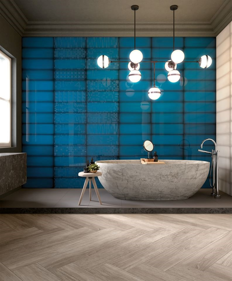 salle de bain ceramique bleue